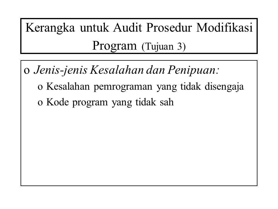 Kerangka untuk Audit Prosedur Modifikasi Program (Tujuan 3) oJenis-jenis Kesalahan dan Penipuan: oKesalahan pemrograman yang tidak disengaja oKode pro