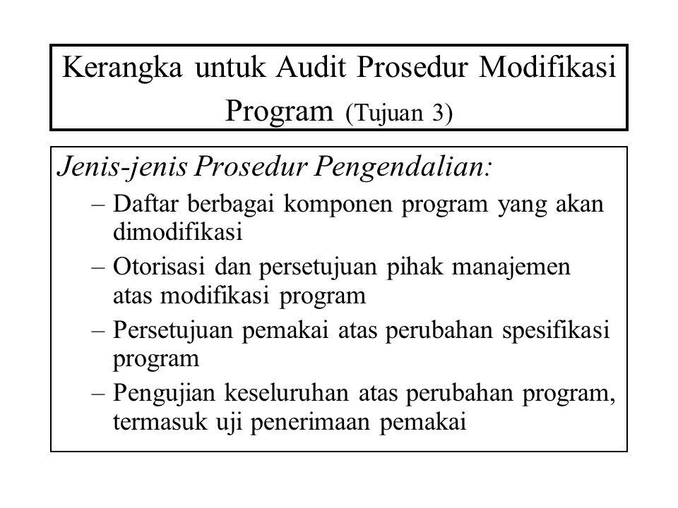 Kerangka untuk Audit Prosedur Modifikasi Program (Tujuan 3) Jenis-jenis Prosedur Pengendalian: –Daftar berbagai komponen program yang akan dimodifikas
