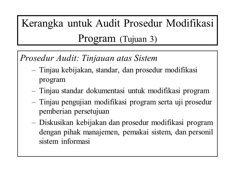 Kerangka untuk Audit Prosedur Modifikasi Program (Tujuan 3) Prosedur Audit: Tinjauan atas Sistem –Tinjau kebijakan, standar, dan prosedur modifikasi p