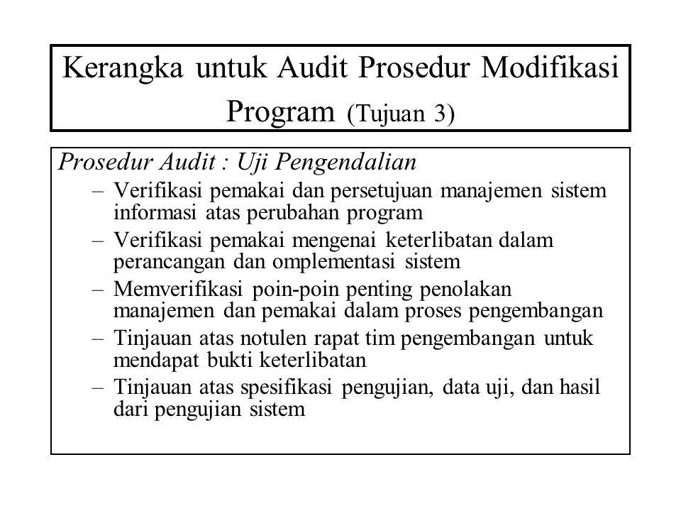 Kerangka untuk Audit Prosedur Modifikasi Program (Tujuan 3) Prosedur Audit : Uji Pengendalian –Verifikasi pemakai dan persetujuan manajemen sistem inf