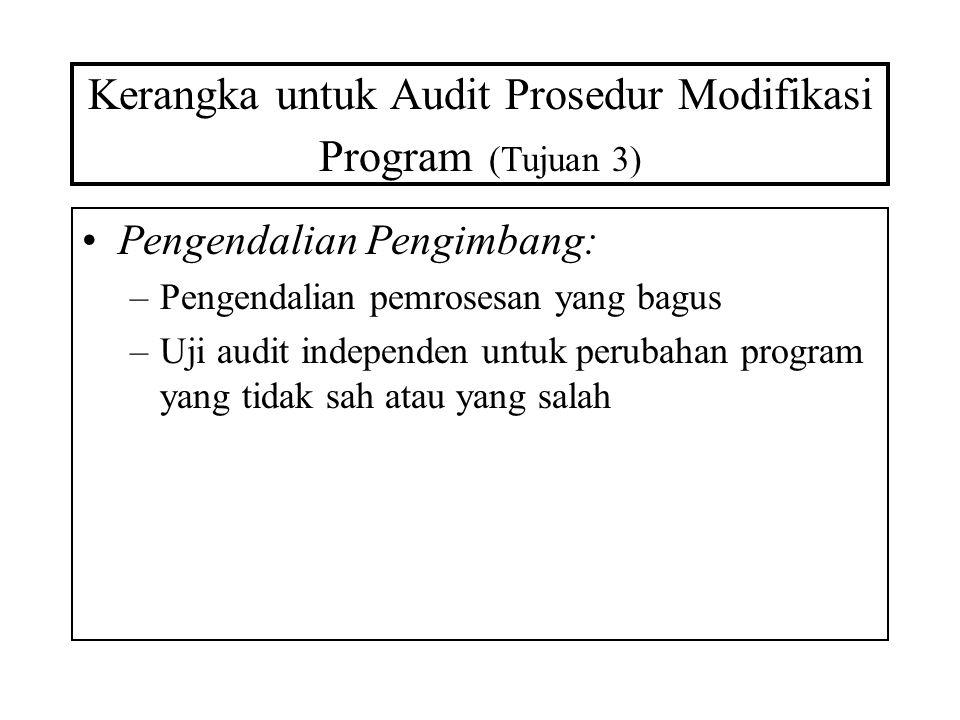Kerangka untuk Audit Prosedur Modifikasi Program (Tujuan 3) Pengendalian Pengimbang: –Pengendalian pemrosesan yang bagus –Uji audit independen untuk p