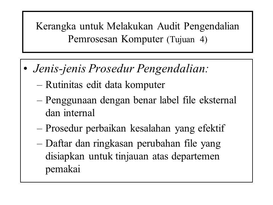 Kerangka untuk Melakukan Audit Pengendalian Pemrosesan Komputer (Tujuan 4) Jenis-jenis Prosedur Pengendalian: –Rutinitas edit data komputer –Penggunaa