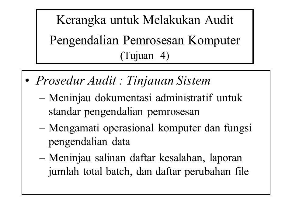 Kerangka untuk Melakukan Audit Pengendalian Pemrosesan Komputer (Tujuan 4) Prosedur Audit : Tinjauan Sistem –Meninjau dokumentasi administratif untuk