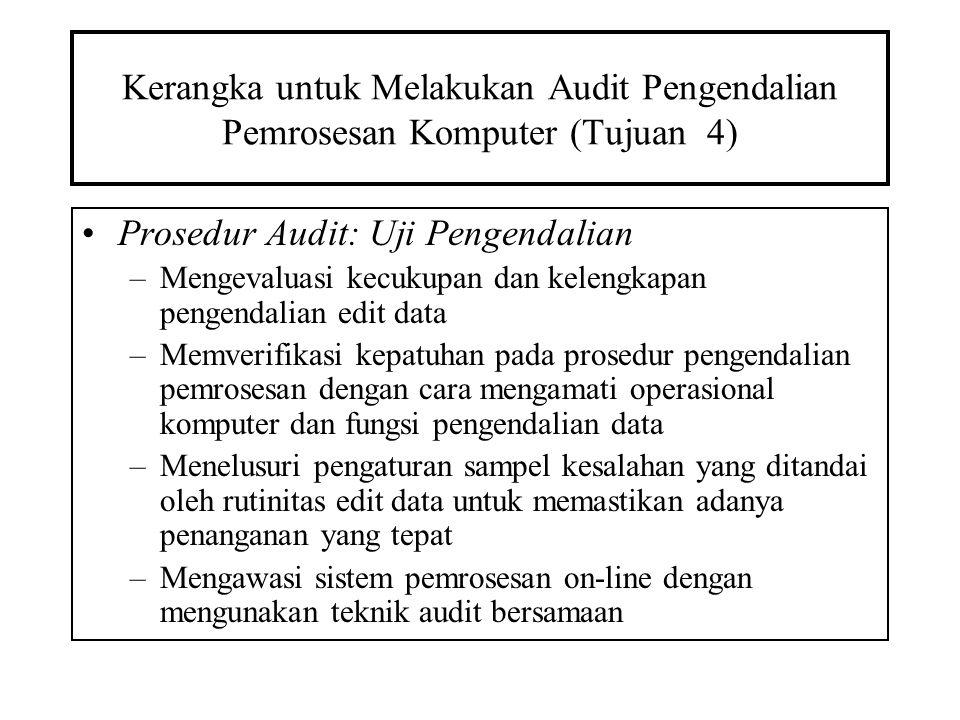 Kerangka untuk Melakukan Audit Pengendalian Pemrosesan Komputer (Tujuan 4) Prosedur Audit: Uji Pengendalian –Mengevaluasi kecukupan dan kelengkapan pe