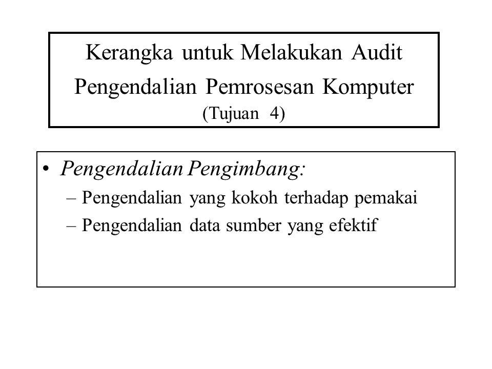 Kerangka untuk Melakukan Audit Pengendalian Pemrosesan Komputer (Tujuan 4) Pengendalian Pengimbang: –Pengendalian yang kokoh terhadap pemakai –Pengend