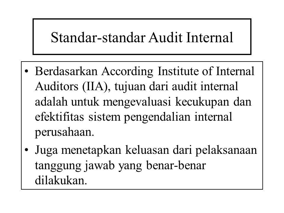 Standar-standar Audit Internal Berdasarkan According Institute of Internal Auditors (IIA), tujuan dari audit internal adalah untuk mengevaluasi kecuku