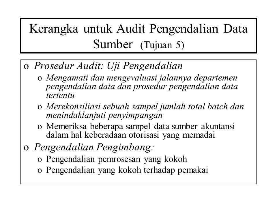 Kerangka untuk Audit Pengendalian Data Sumber (Tujuan 5) oProsedur Audit: Uji Pengendalian oMengamati dan mengevaluasi jalannya departemen pengendalia