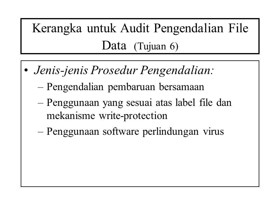 Kerangka untuk Audit Pengendalian File Data (Tujuan 6) Jenis-jenis Prosedur Pengendalian: –Pengendalian pembaruan bersamaan –Penggunaan yang sesuai at