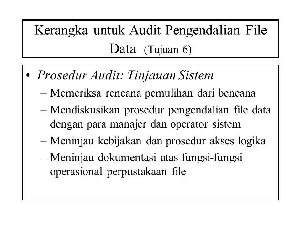 Kerangka untuk Audit Pengendalian File Data (Tujuan 6) Prosedur Audit: Tinjauan Sistem –Memeriksa rencana pemulihan dari bencana –Mendiskusikan prosed