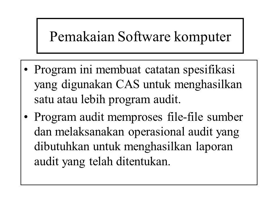 Pemakaian Software komputer Program ini membuat catatan spesifikasi yang digunakan CAS untuk menghasilkan satu atau lebih program audit. Program audit