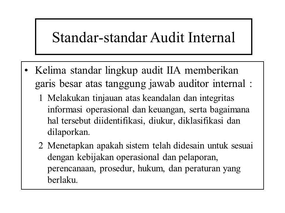 Standar-standar Audit Internal Kelima standar lingkup audit IIA memberikan garis besar atas tanggung jawab auditor internal : 1Melakukan tinjauan atas