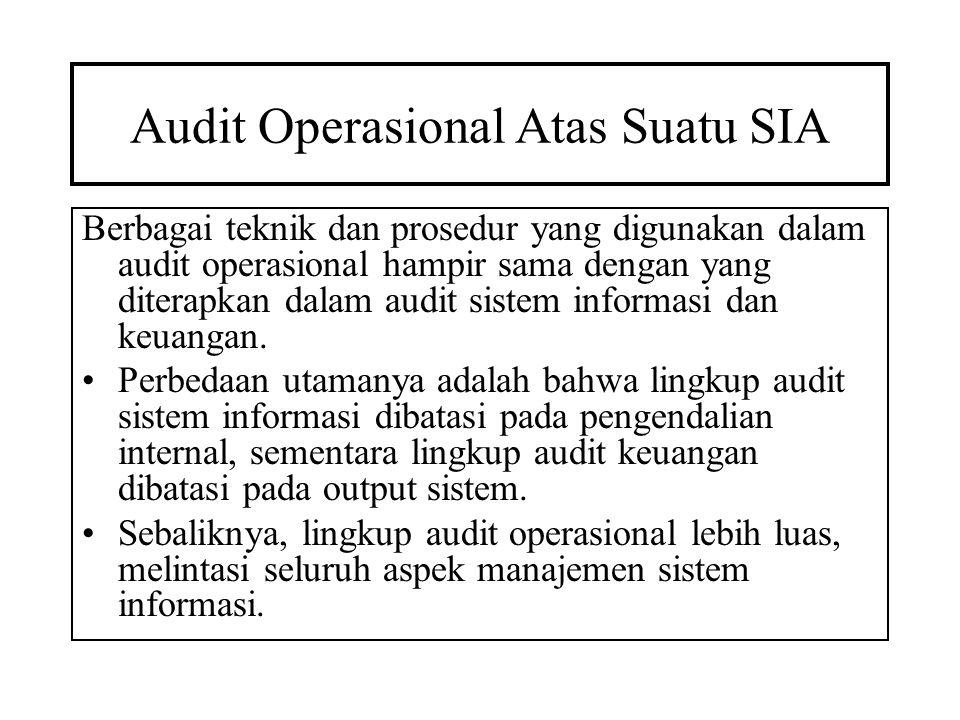 Audit Operasional Atas Suatu SIA Berbagai teknik dan prosedur yang digunakan dalam audit operasional hampir sama dengan yang diterapkan dalam audit si