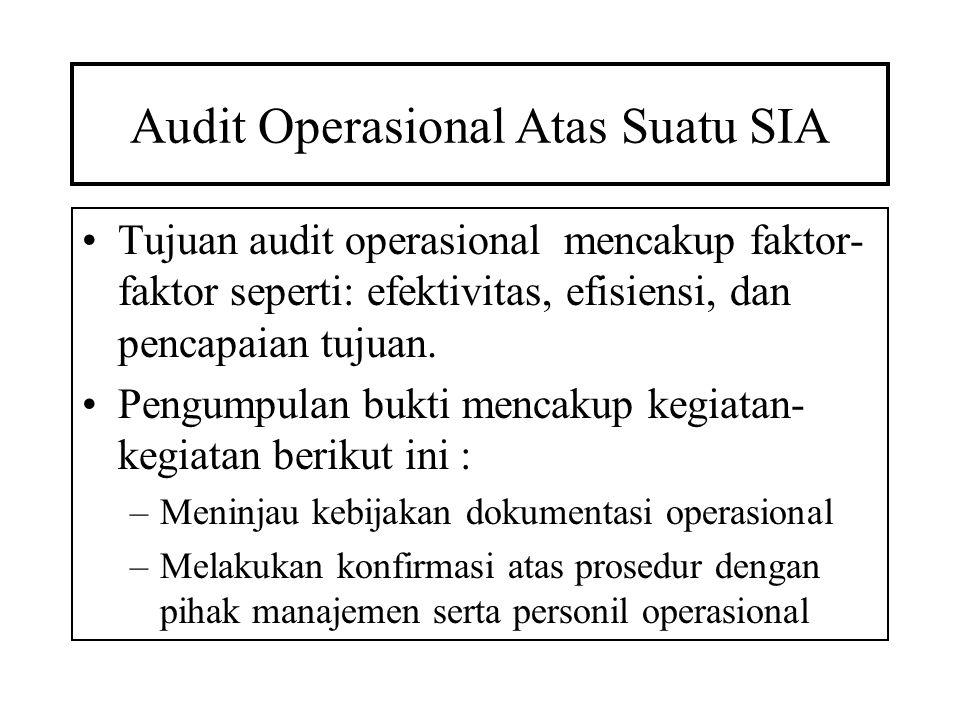 Audit Operasional Atas Suatu SIA Tujuan audit operasional mencakup faktor- faktor seperti: efektivitas, efisiensi, dan pencapaian tujuan. Pengumpulan