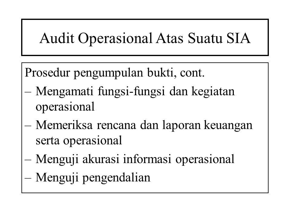 Audit Operasional Atas Suatu SIA Prosedur pengumpulan bukti, cont. –Mengamati fungsi-fungsi dan kegiatan operasional –Memeriksa rencana dan laporan ke