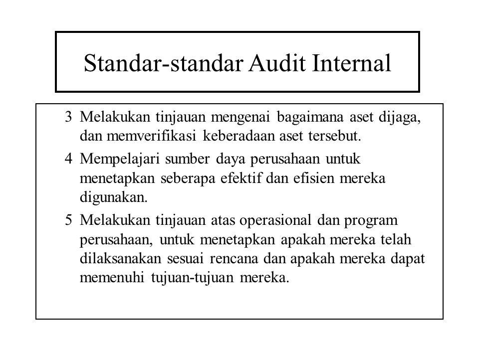Standar-standar Audit Internal 3Melakukan tinjauan mengenai bagaimana aset dijaga, dan memverifikasi keberadaan aset tersebut. 4Mempelajari sumber day