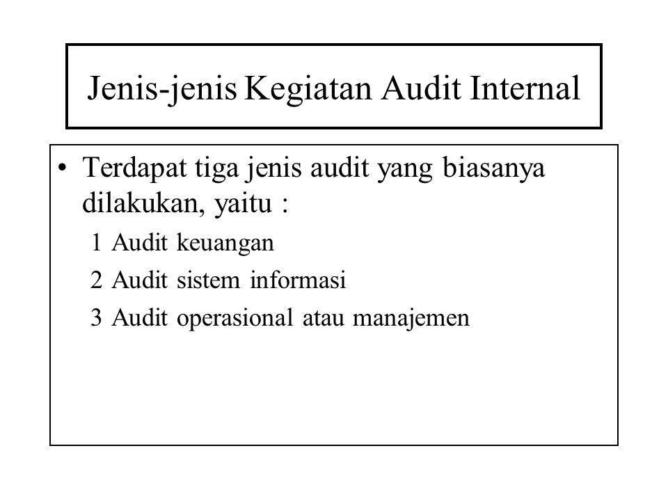 Jenis-jenis Kegiatan Audit Internal Terdapat tiga jenis audit yang biasanya dilakukan, yaitu : 1Audit keuangan 2Audit sistem informasi 3Audit operasio