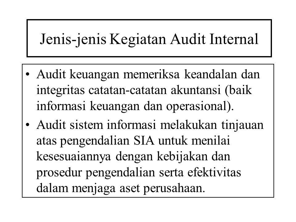 Jenis-jenis Kegiatan Audit Internal Audit keuangan memeriksa keandalan dan integritas catatan-catatan akuntansi (baik informasi keuangan dan operasion