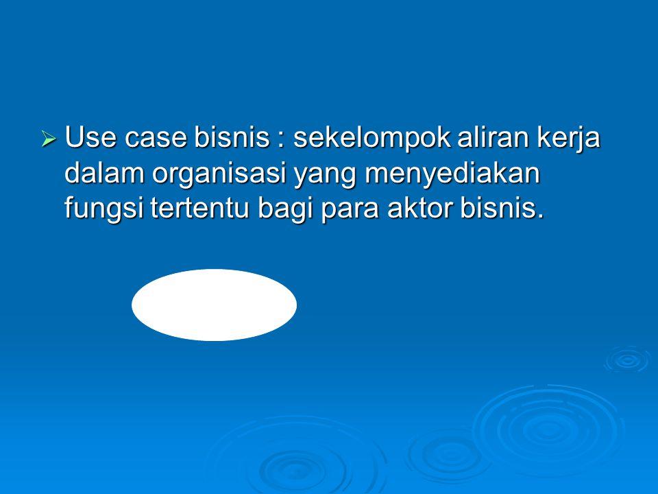  Use case bisnis : sekelompok aliran kerja dalam organisasi yang menyediakan fungsi tertentu bagi para aktor bisnis.