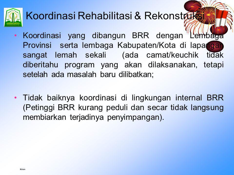 MJun Pelaksanaan Rehabilitasi & Rekonstruksi Sangat banyak hasil pekerjaan yang berada di bawah standar teknis dan tidak sesuai dengan spesifikasi tek