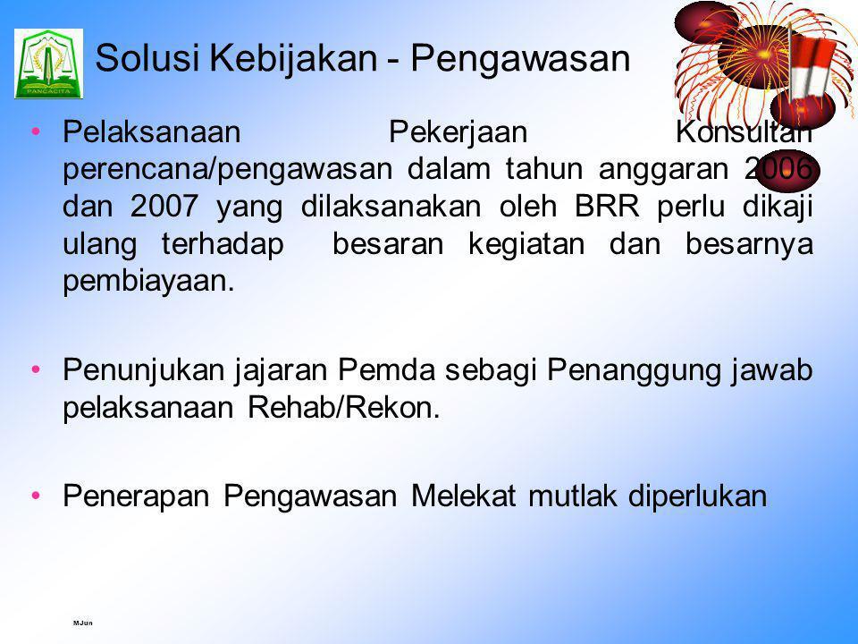 MJun Solusi Kebijakan - Koordinasi BRR tidak dapat melakukan koordinasi yang baik dengan Pemerintah Aceh, Kab/Kota, Kecamatan, dan Desa serta NGO. Ole