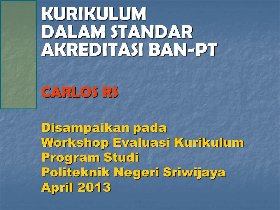 KURIKULUM DALAM STANDAR AKREDITASI BAN-PT CARLOS RS Disampaikan pada Workshop Evaluasi Kurikulum Program Studi Politeknik Negeri Sriwijaya April 2013