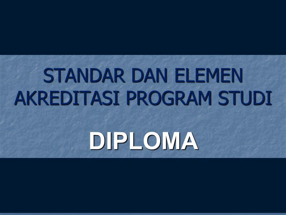 STANDAR DAN ELEMEN AKREDITASI PROGRAM STUDI DIPLOMA 12-Jan-15 DIPLOMA