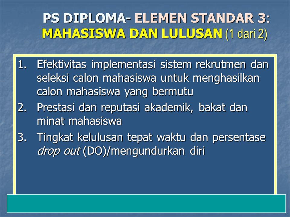 12-Jan-15 PS DIPLOMA- ELEMEN STANDAR 3: MAHASISWA DAN LULUSAN (1 dari 2) PS DIPLOMA- ELEMEN STANDAR 3: MAHASISWA DAN LULUSAN (1 dari 2) 1.Efektivitas implementasi sistem rekrutmen dan seleksi calon mahasiswa untuk menghasilkan calon mahasiswa yang bermutu 2.Prestasi dan reputasi akademik, bakat dan minat mahasiswa 3.Tingkat kelulusan tepat waktu dan persentase drop out (DO)/mengundurkan diri