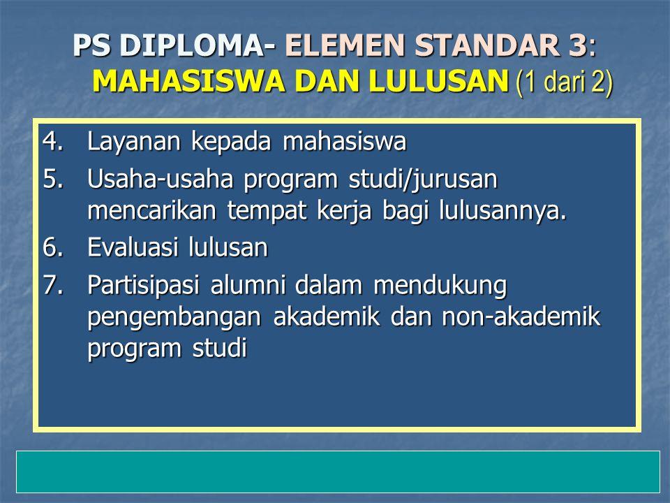 12-Jan-15 PS DIPLOMA- ELEMEN STANDAR 3: MAHASISWA DAN LULUSAN (1 dari 2) 4.Layanan kepada mahasiswa 5.Usaha-usaha program studi/jurusan mencarikan tempat kerja bagi lulusannya.