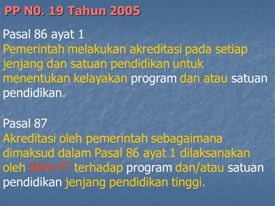 Pasal 86 ayat 1 Pemerintah melakukan akreditasi pada setiap jenjang dan satuan pendidikan untuk menentukan kelayakan program dan atau satuan pendidikan.