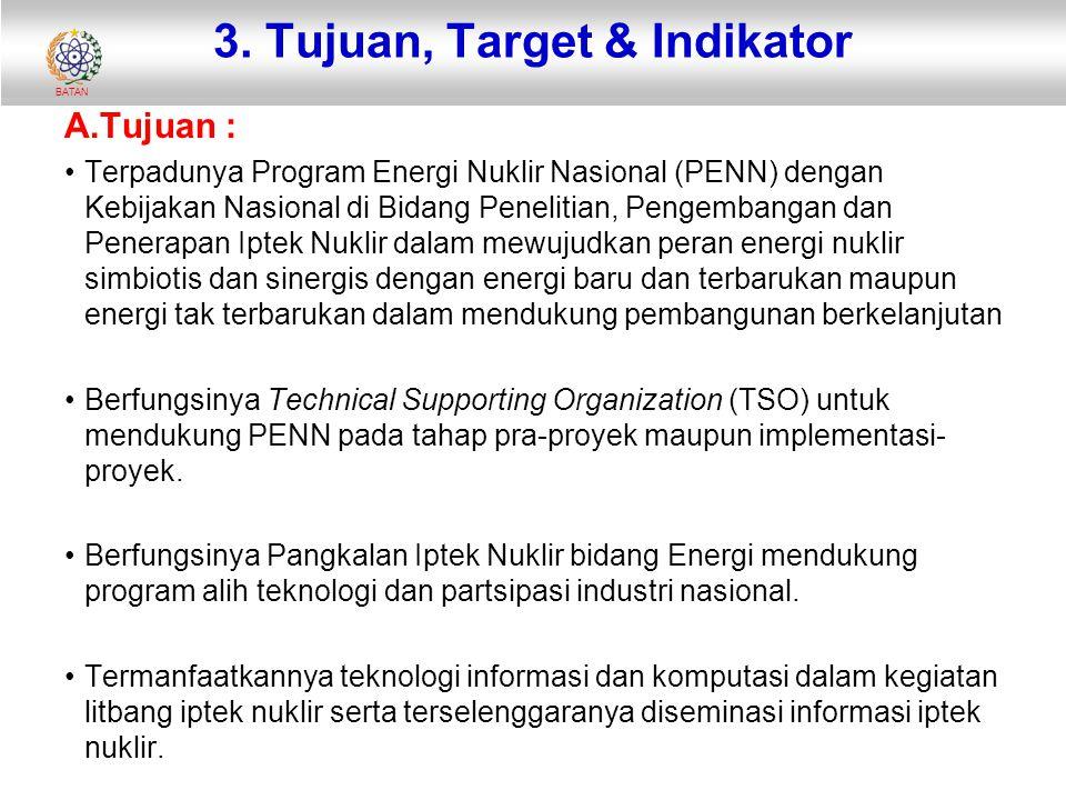 BATAN 3. Tujuan, Target & Indikator A.Tujuan : Terpadunya Program Energi Nuklir Nasional (PENN) dengan Kebijakan Nasional di Bidang Penelitian, Pengem