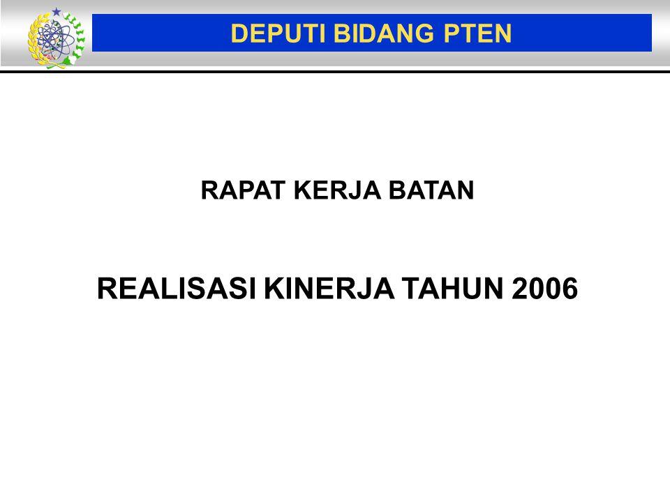 BATAN DEPUTI BIDANG PTEN RAPAT KERJA BATAN REALISASI KINERJA TAHUN 2006
