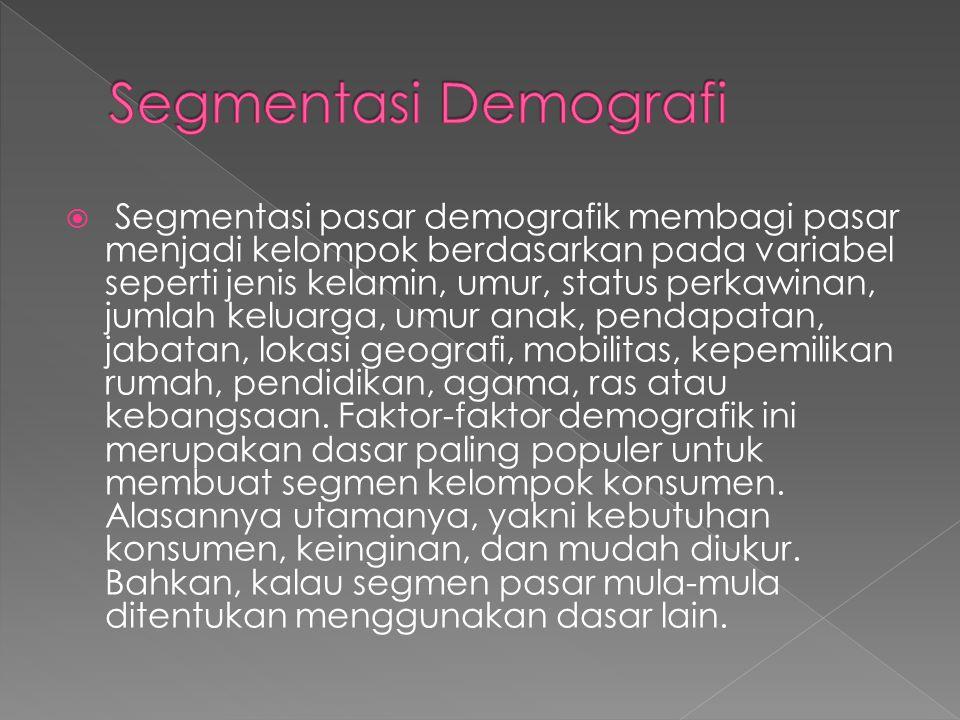  Segmentasi pasar demografik membagi pasar menjadi kelompok berdasarkan pada variabel seperti jenis kelamin, umur, status perkawinan, jumlah keluarga