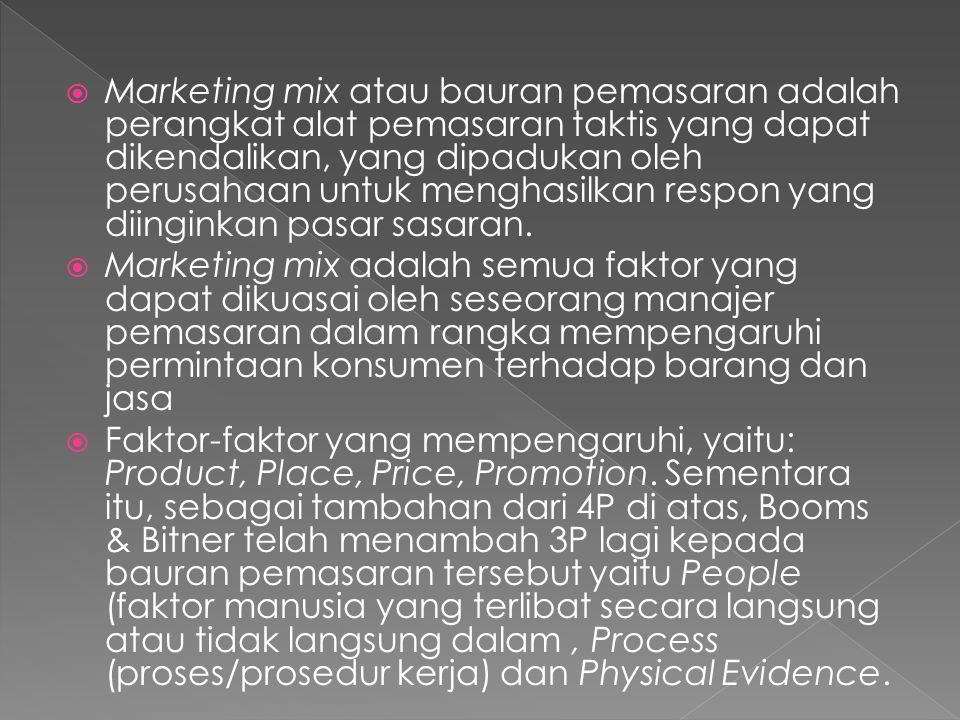  Marketing mix atau bauran pemasaran adalah perangkat alat pemasaran taktis yang dapat dikendalikan, yang dipadukan oleh perusahaan untuk menghasilka