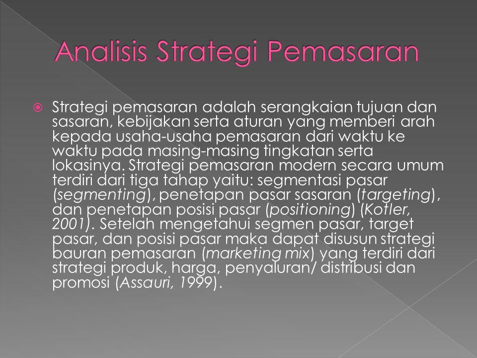  Strategi pemasaran adalah serangkaian tujuan dan sasaran, kebijakan serta aturan yang memberi arah kepada usaha-usaha pemasaran dari waktu ke waktu