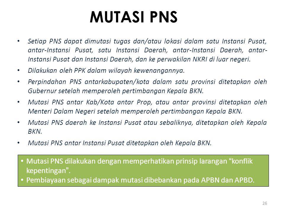 MUTASI PNS Setiap PNS dapat dimutasi tugas dan/atau lokasi dalam satu Instansi Pusat, antar-Instansi Pusat, satu Instansi Daerah, antar-Instansi Daera