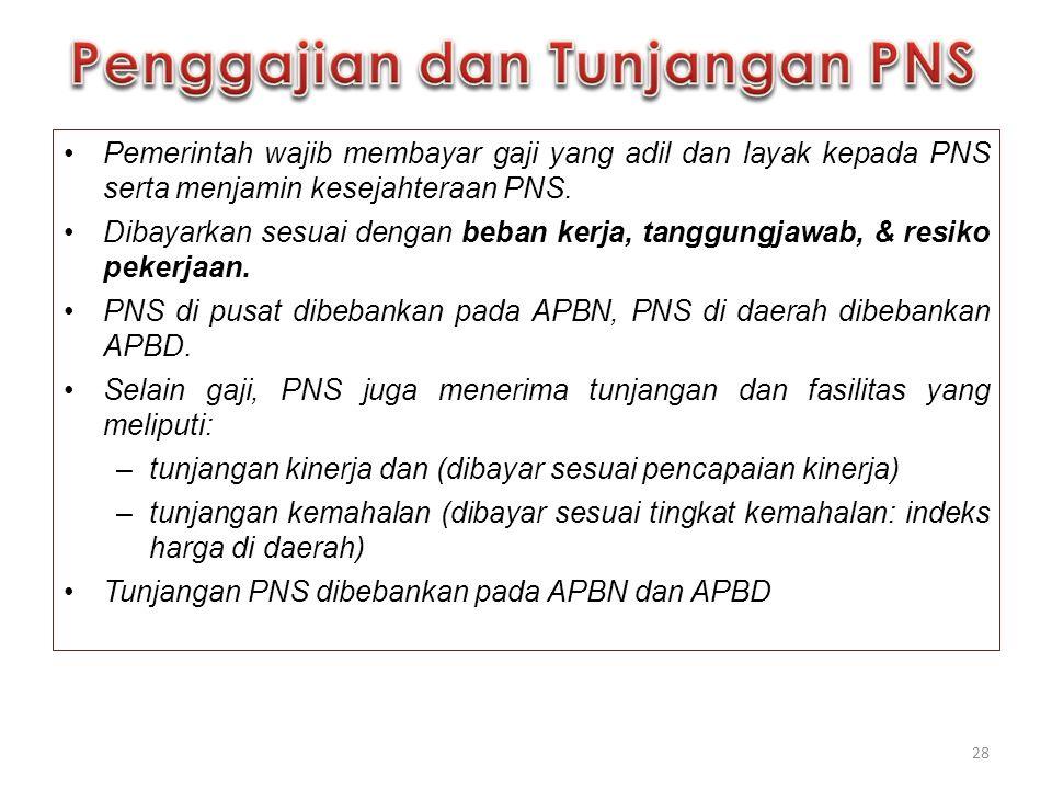Pemerintah wajib membayar gaji yang adil dan layak kepada PNS serta menjamin kesejahteraan PNS. Dibayarkan sesuai dengan beban kerja, tanggungjawab, &