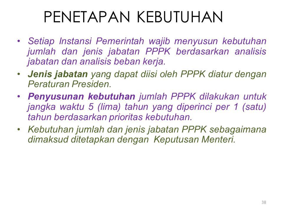 PENETAPAN KEBUTUHAN Setiap Instansi Pemerintah wajib menyusun kebutuhan jumlah dan jenis jabatan PPPK berdasarkan analisis jabatan dan analisis beban