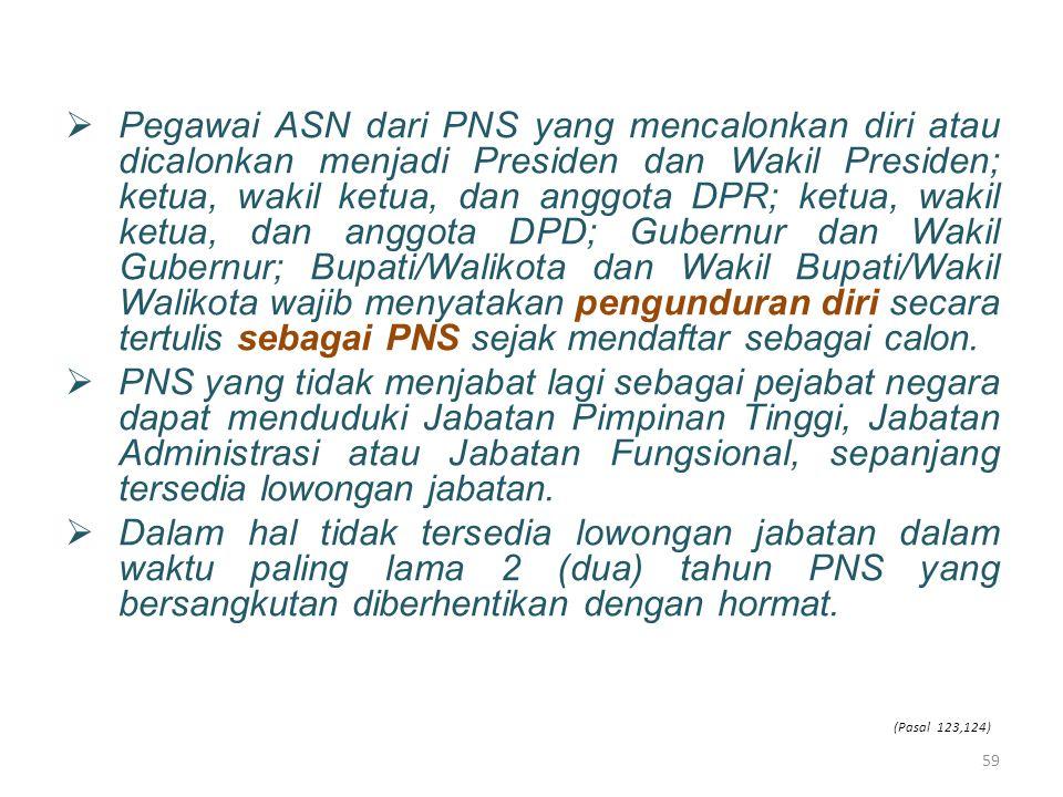  Pegawai ASN dari PNS yang mencalonkan diri atau dicalonkan menjadi Presiden dan Wakil Presiden; ketua, wakil ketua, dan anggota DPR; ketua, wakil ke