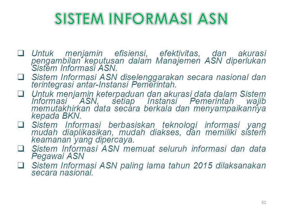  Untuk menjamin efisiensi, efektivitas, dan akurasi pengambilan keputusan dalam Manajemen ASN diperlukan Sistem Informasi ASN.  Sistem Informasi ASN