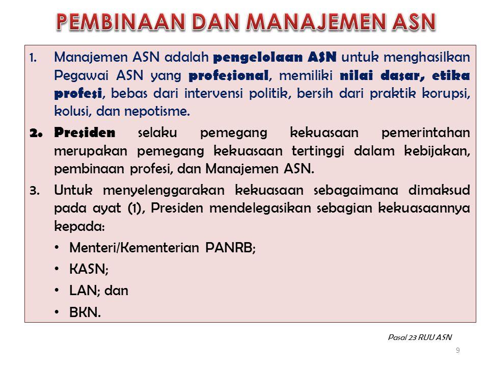 1.Manajemen ASN adalah pengelolaan ASN untuk menghasilkan Pegawai ASN yang profesional, memiliki nilai dasar, etika profesi, bebas dari intervensi pol