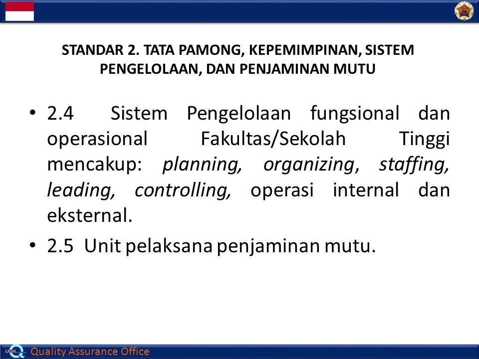 Quality Assurance Office 2.4 Sistem Pengelolaan fungsional dan operasional Fakultas/Sekolah Tinggi mencakup: planning, organizing, staffing, leading,
