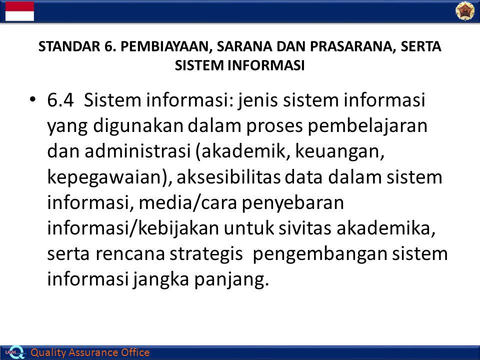 Quality Assurance Office STANDAR 6. PEMBIAYAAN, SARANA DAN PRASARANA, SERTA SISTEM INFORMASI 6.4 Sistem informasi: jenis sistem informasi yang digunak