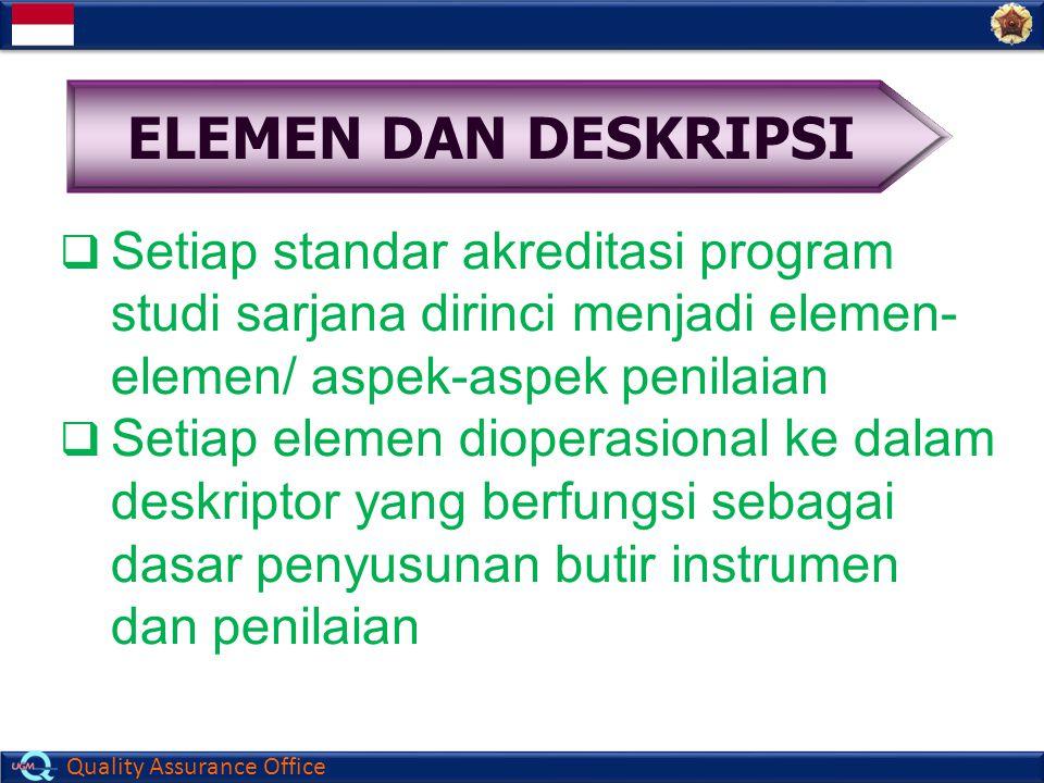 Quality Assurance Office  Setiap standar akreditasi program studi sarjana dirinci menjadi elemen- elemen/ aspek-aspek penilaian  Setiap elemen diope