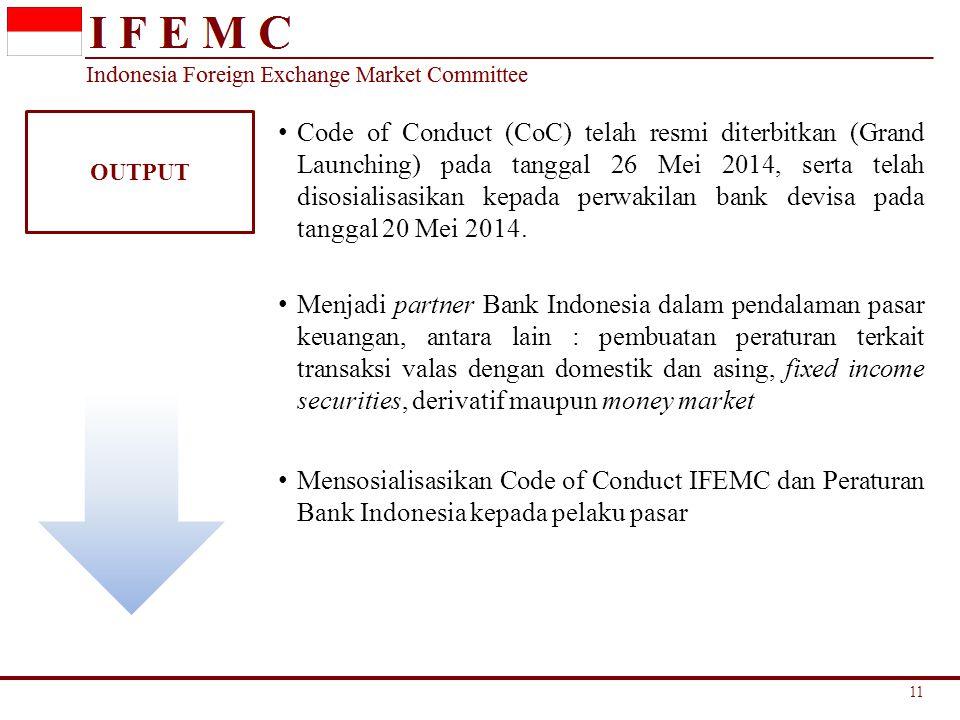 OUTPUT Code of Conduct (CoC) telah resmi diterbitkan (Grand Launching) pada tanggal 26 Mei 2014, serta telah disosialisasikan kepada perwakilan bank d