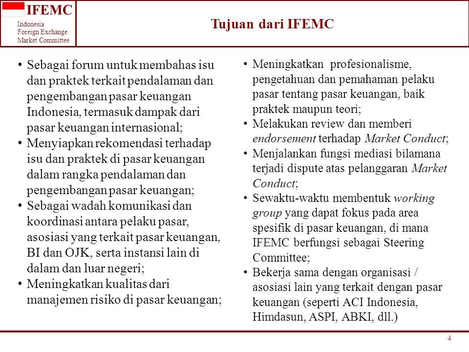 Indonesia Foreign Exchange Market Committee 5 Fokus dan Tema Pendalaman Pasar dari IFEMC Pendalaman dan Pengembangan Pasar Keuangan Manajemen risiko yang komprehensif Likuiditas Instrumen pasar keuangan Pengembangan Produk Ketentuan yang kondusif Price Discovery & Transparancy Banyak pelaku pasar yang aktif Peningkatan Volume transaksi Komunikasi & Koordinasi SDM berkualitas (knowledge, skills & attitude) Perilaku (Code of Conduct) Pengetahuan & Pengalaman Pelatihan & Knowledge Sharing Sertifikasi Area konsentrasi IFEMC Kerjasama IFEMC dan ACII Area konsentrasi IBI dan ACII