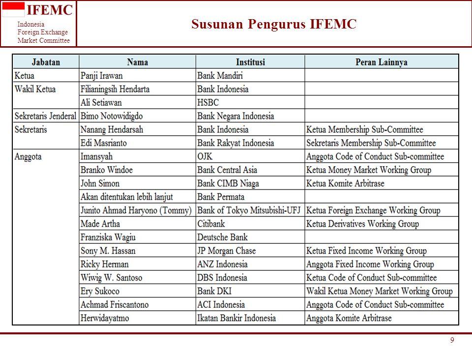 Indonesia Foreign Exchange Market Committee 9 Susunan Pengurus IFEMC