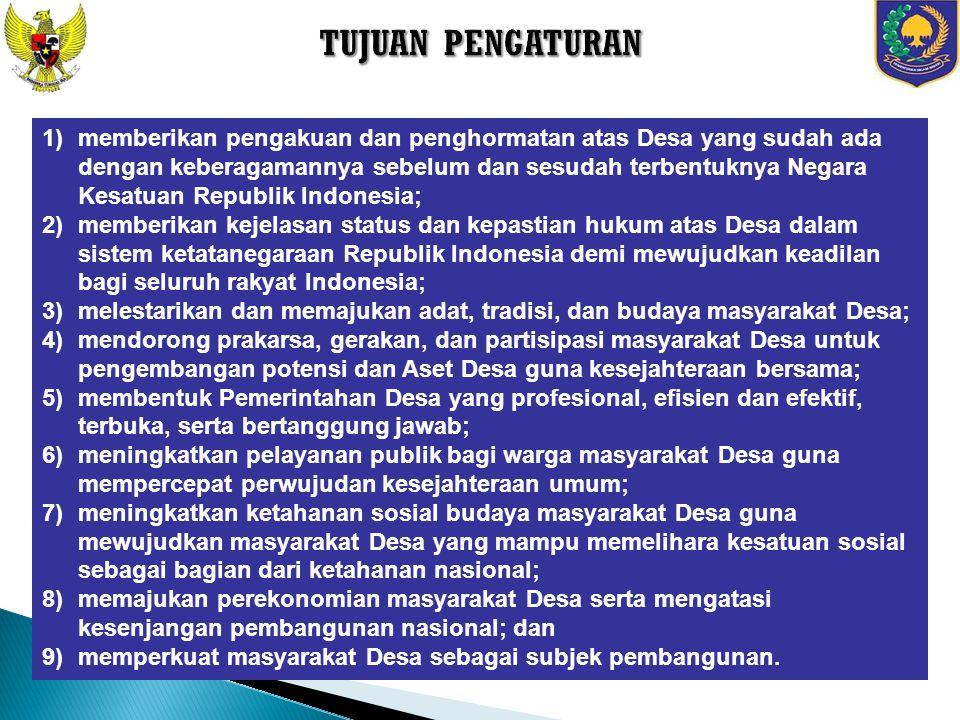Undang-Undang Nomor 6 Tahun 2014 tentang Desa Peraturan Pemerintah Nomor 43 Tahun 2014 Peraturan Pelaksanaan Undang-Undang Nomor 6 Tahun 2014 Peraturan Pemerintah Nomor 60 Tahun 2014 tentang Dana Desa yang Bersumber dari Anggaran dan Pendapatan Belanja Negara