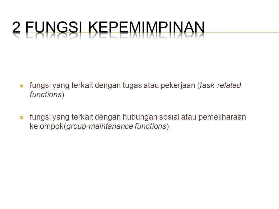  fungsi yang terkait dengan tugas atau pekerjaan (task-related functions)  fungsi yang terkait dengan hubungan sosial atau pemeliharaan kelompok(gro