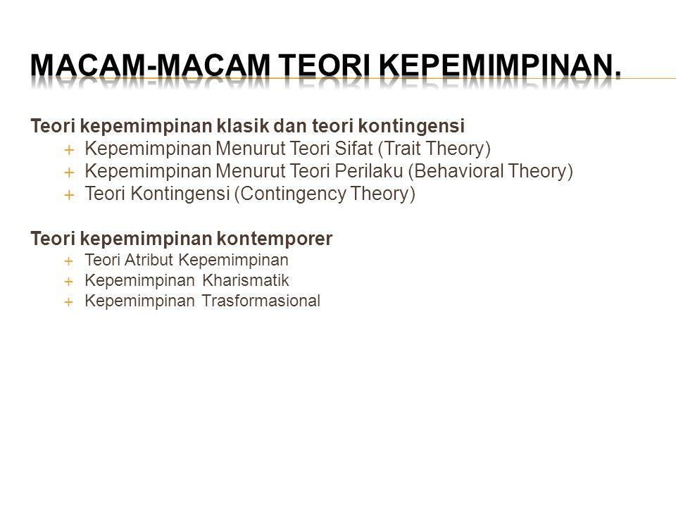 Teori kepemimpinan klasik dan teori kontingensi  Kepemimpinan Menurut Teori Sifat (Trait Theory)  Kepemimpinan Menurut Teori Perilaku (Behavioral Th