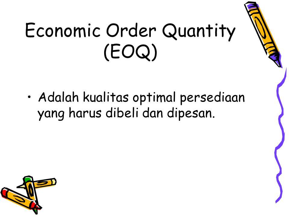 Economic Order Quantity (EOQ) Adalah kualitas optimal persediaan yang harus dibeli dan dipesan.